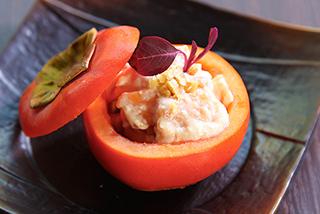 柿とディップソースの和え物